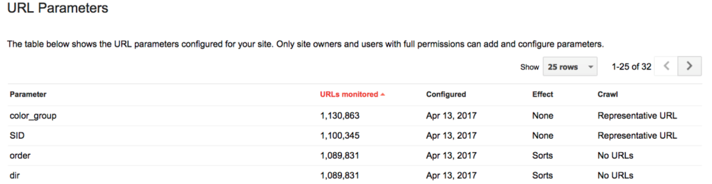 Configuring URL parameters in Google Search Console